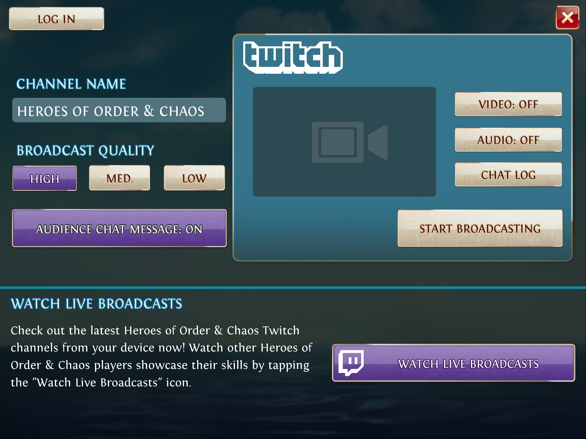 Heroes of Order and Chaos Twitch