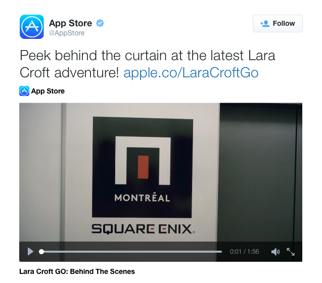 Apple Posts Special Behind the Scenes Videos for Both 'Lara Croft GO' and 'Horizon Chase'