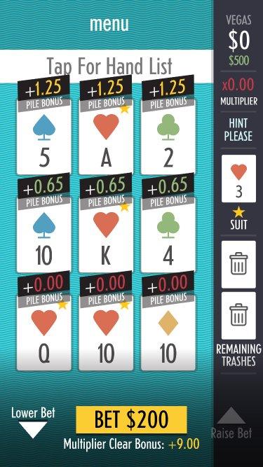 Menu of sage solitaire's