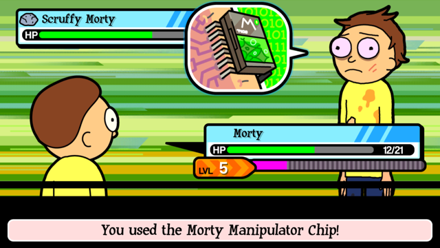 using scruffy morty chip to play