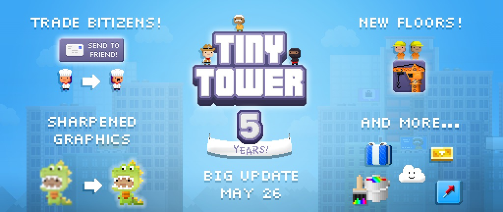 'Tiny Tower' 5 Year Anniversary Update Coming May 26th