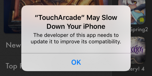"""The TouchArcade App and the iOS 10.1 """"May Slow Down Your Phone"""" Popup"""