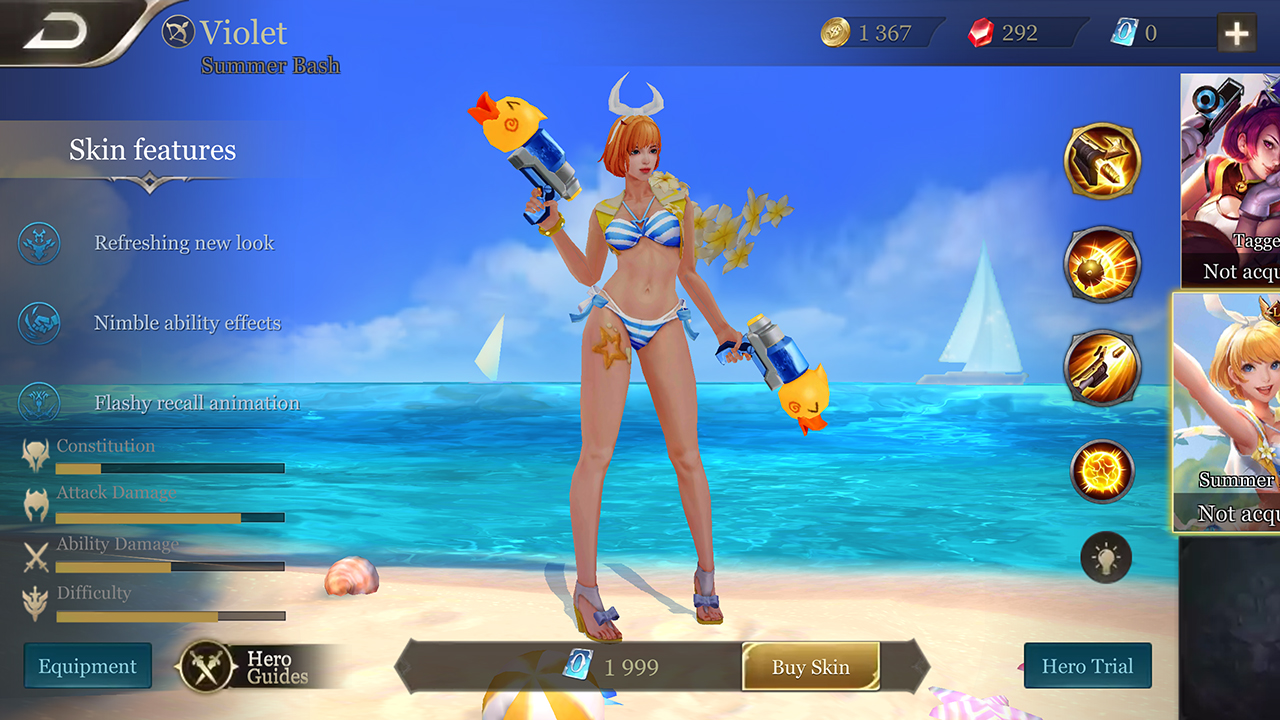 Arena of Valor Summer Bash Violet skin