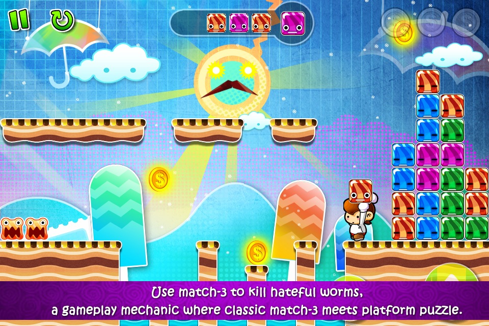 Candy Boy' Review – A Platformer with Match-3 and Worms! – TouchArcade