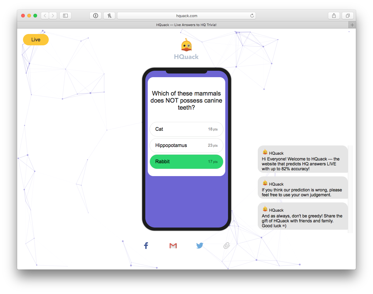 Cheat to Win 'HQ Trivia' Using HQuack – An Easy 'HQ' Hack