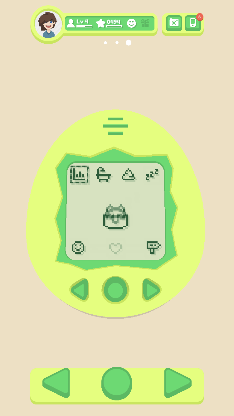 A lime green Noa Noa, with icons for stats, shower, poop, sleep, affection, trade, and town.