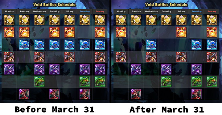 Dragalia Lost void battle schedule