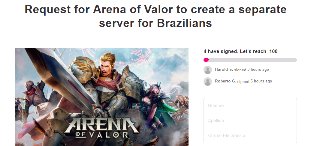 AOV Brazil server petition