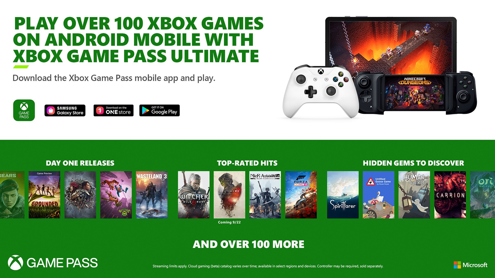 Microsoft Reveals xCloud Launch Games Lineup and 'Minecraft Dungeons' with Touch Controls Ahead of Tomorrow's Launch on Android